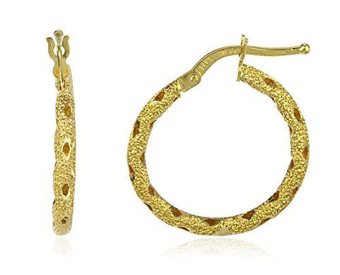 14K Yellow Gold Hoop Earrings Italian Textured - 20mm or 23mm (20 Millimeters)
