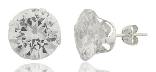 925 Sterling Silver 10, 11 or 12mm Four Prong Round Cubic Zirconia Stud Earrings (11 Millimeters)