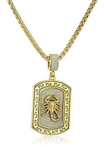 Sandblasted Lobster Micro Pendant with a 24 Inch Box Chain (Goldtone)