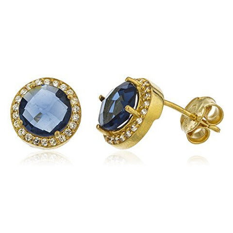 Sterling Silver Stud Earrings Gold Colored Simulated Sapphire Round Stone with Cz Stones