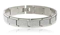 Men's Stainless Steel Sandblast Rectangles 8.5 Inch Bracelet with Snap Clasp (Silvertone)