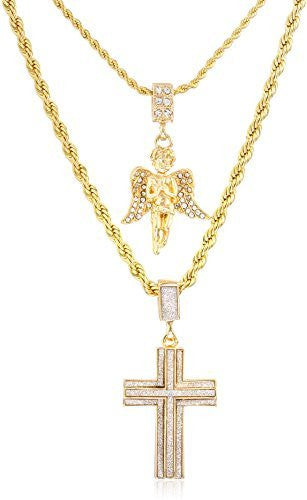 Double Layer Necklace with Sandblast Double Cross & Angel Pendants 22-28 Inch Rope Chain Necklace - Goldtone or Silvertone