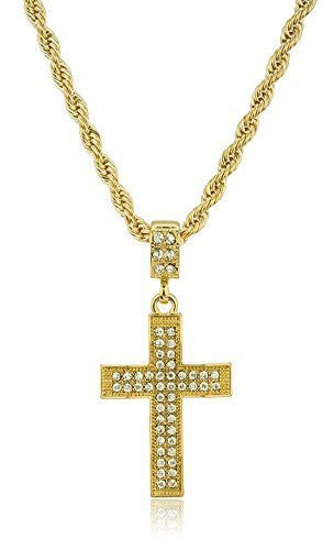 Iced Out Large Bold Wavy Cross...