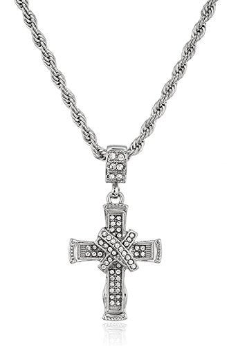 Iced Out Cross with Ribbon Micro...