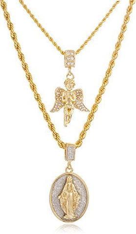 Goldtone Double Layer Necklace with Iced Out Angel & Sandblast Mother Mary Oval Pendants 22-28 Inch Rope Chain Necklace