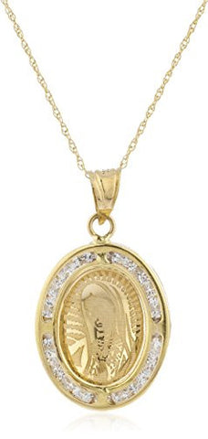 10k Yellow Gold Mother Mary Cz Oval Pendant with an 18 Inch Singapore Necklace