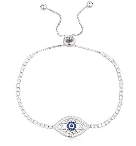 925 Sterling Silver Evil Eye & Design Bracelet with Cubic Zirconia Stones