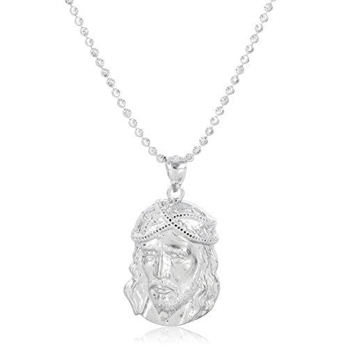 925 Sterling Silver Profile View Jesus Piece Face Pendant with a 2mm Moon Cut 22 Inch Necklace