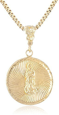 Silvertone Embossed Saint Mary Medal with 24 Inch Box Chain Necklace