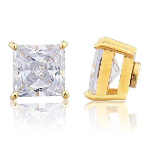 Goldtone with Clear Cz Square Magnetic Stud Earrings - 4mm to 12mm Available