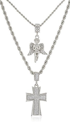 Double Layer Necklace with Iced Out Angel & Sandblast Cross Pendants 22-28 Inch Rope Chain Necklace - Goldtone or Silvertone (Silvertone)