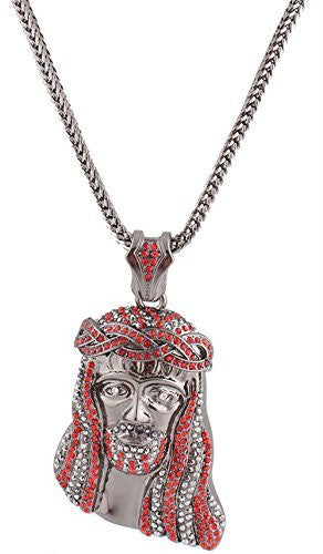 Black with Red & Clear Crowned Iced Out Jesus Piece Pendant with a 36 Inch Franco Chain