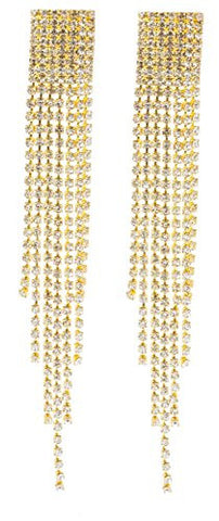 Goldtone 4.5 Inch Chandelier with Tassels and Stones Clip On Earrings
