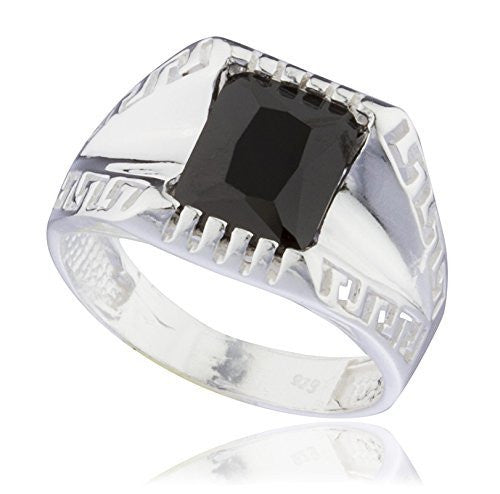 925 Sterling Silver Greek Key Link Band Ring with Black Square Cz Stone