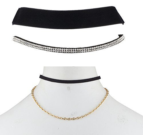The Ultimate Collection Set of Three Choker Set (Double Choker with Chain,Thick Velvet, Two Row Iced Out)