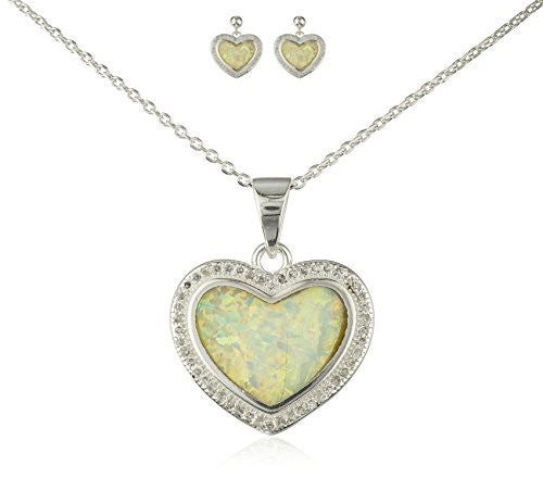 925 Sterling Silver Heart Created Opal Necklace with Matching Stud Earrings Jewelry Set (White)