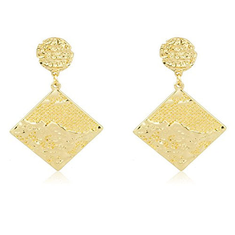 Goldtone Nugget Style Square Drop Earrings