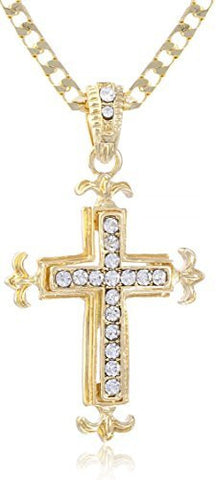 Goldtone Iced Out Cross Winged Sides with a 24 Inch Chain Necklace