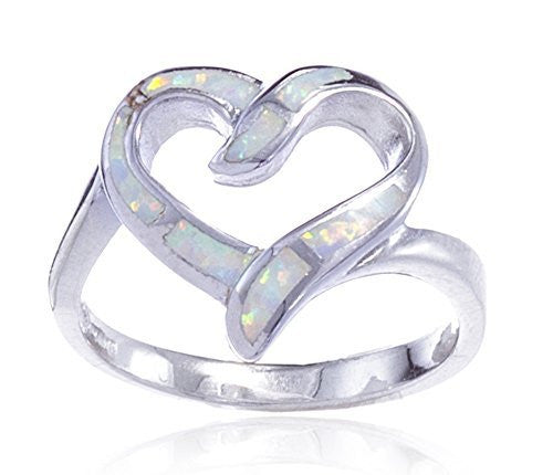925 Sterling Silver Created White Opal Heart Ring