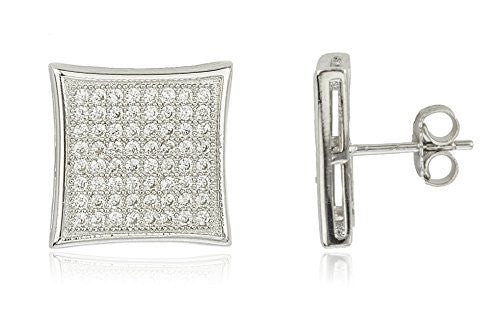 Sterling Silver Stud Earrings Micro Pave...