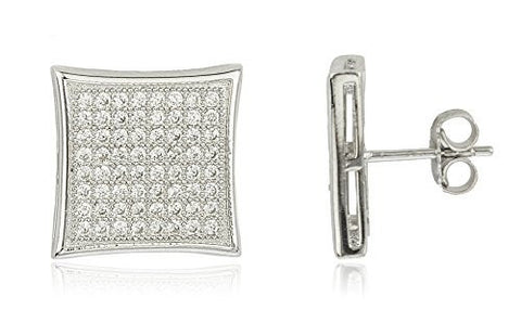 Sterling Silver Stud Earrings Micro Pave 15.5mm 8 Line Square with Cz Stones