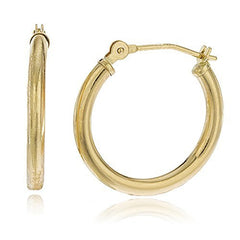 Sterling Silver Hoop Earrings Goldtone 2mm Pincatch (24 Millimeters)