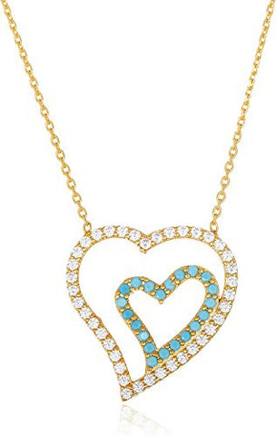 925 Sterling Silver Goldtone with Clear Blue Stones Double Heart Pendant and 18 Inch Necklace