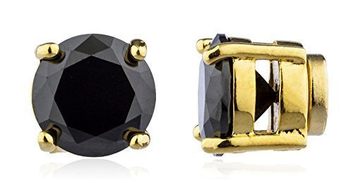 Goldtone Magnetic Earrings with Black Cz...