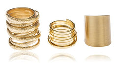 Goldtone Layered Three Finger Ring Sizes 5, 7, 9