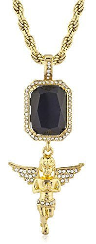 Goldtone Iced Out Simulated Gemstone &...