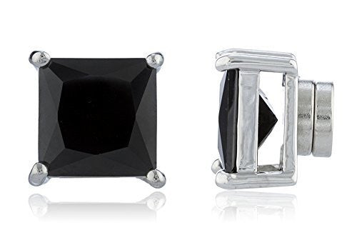 Silvertone Magnetic Earrings with Black Cz Square - 4mm to 12mm
