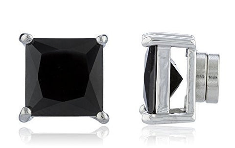 Silvertone with Black Cz Square Magnetic Stud Earrings - 4mm to 12mm Available