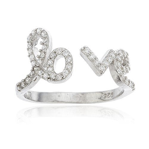 925 Sterling Silver Open Love Ring with Cubic Zirconia Stones Sizis 6 - 8