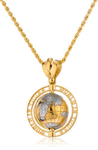 Real 10k Yellow Gold 'World Is Yours' Rotating Globe Pendant with a 10k 3mm 24 Inch Rope Necklace