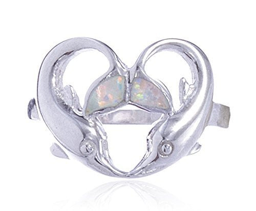 Sterling Silver Ring Created Opal Multicolor Dolphin Heart Design (7) (8)