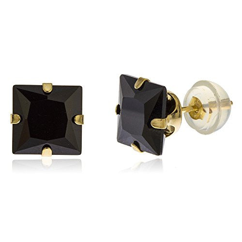 14k Yellow Gold Square Black 7mm...
