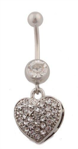 Iced Out Heart with Clear Rhinestone Surgical Stainless Steel Belly Ring