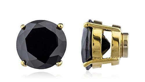 Magnetic Earrings Goldtone with Black Cz...