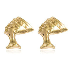 Real 14k Yellow Gold 13mm Nefertiti Stud Earrings with Silicone Back