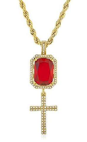 Goldtone Iced Out Simulated Gemstone & Micro Cross Pendants with 24.5 inch Rope Necklace - Available in Red & Black