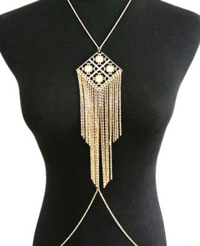 Goldtone 4 Square with Dangling Chains Center Drop Body Chain