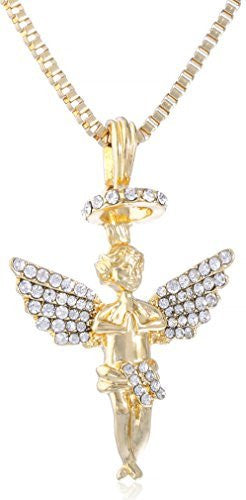 Goldtone Iced Out Micro Baby Angel Pendant with 24 Inch Box Chain Necklace