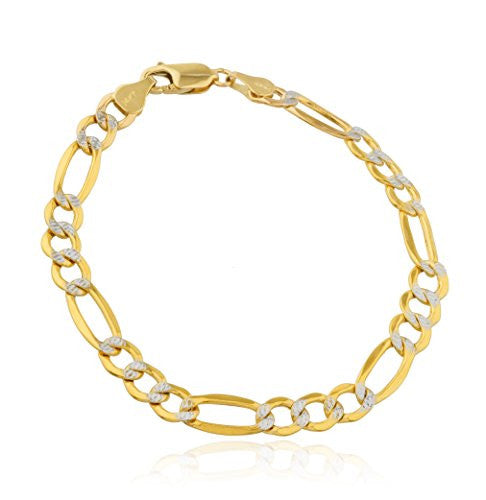 Men's 14k Gold Bracelet 6.8mm Pave Figaro, 8 Inch