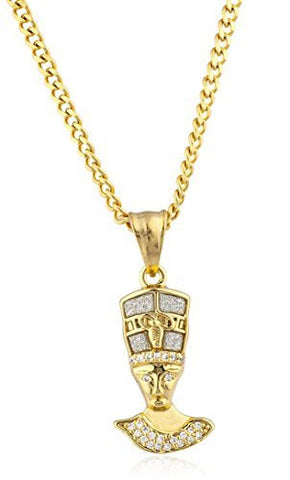 Stainless Steel Goldtone Small Queen Nefertiti Pendant with 24 Inch Cuban Chain