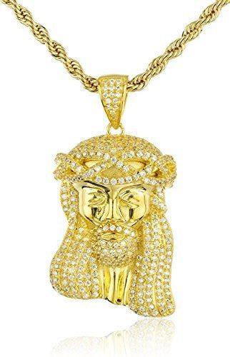 925 Sterling Silver Iced Cubic Zirconia Jesus Piece Pendant with a 3mm 24 Inch Brass Rope Necklace