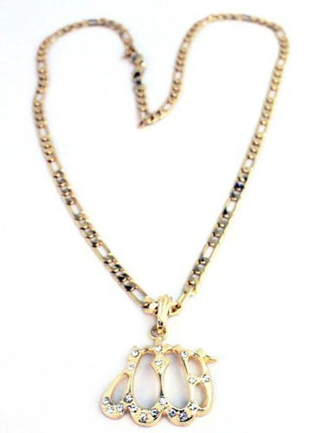 Small Goldtone Iced Out Allah Pendant with a 24 Inch Necklace Chain Good Quality