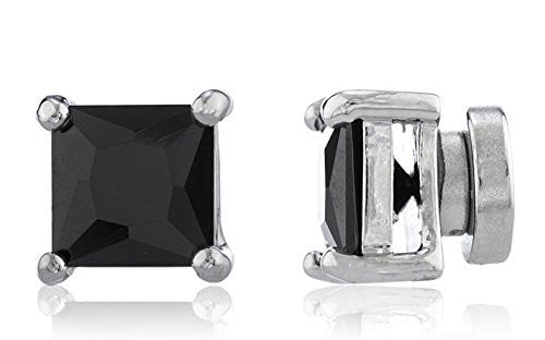 Silvertone Magnetic Earrings with Black Cz...