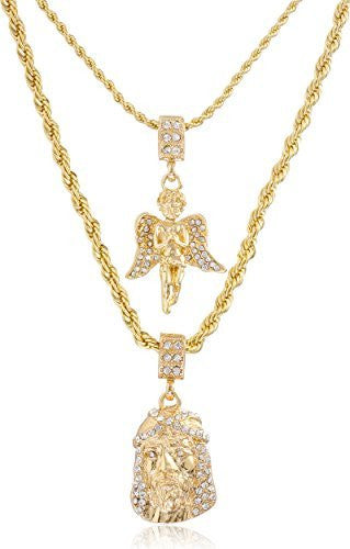 Double Layer Necklace with Iced Out Angel & Jesus Piece Pendants 22-28 Inch Rope Chain Necklace - Goldtone or Silvertone