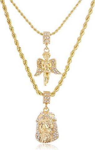 Double Layer Necklace with Iced Out Angel & Jesus Piece Pendants 22-28 Inch Rope Chain Necklace - Goldtone