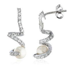 Sterling Silver Stud Earrings Simulated Pearl with Siwrled CZ Stones